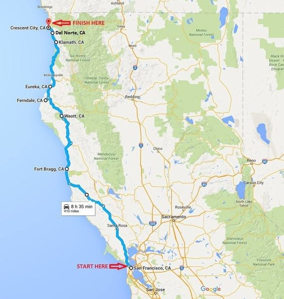 Glass Beach California Map Best Northern California Coast Road Trip + 5 Day Driving Itinerary