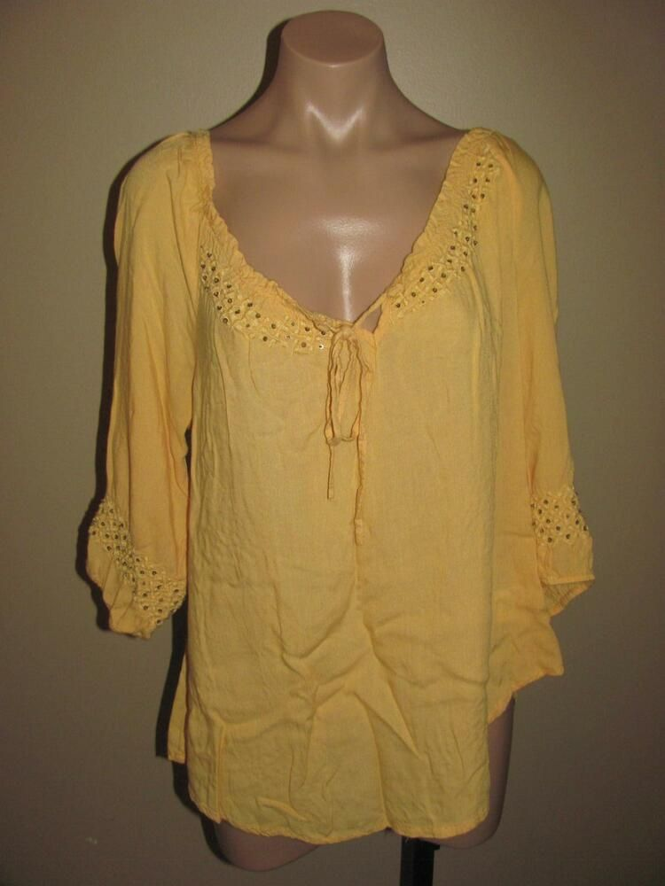 e2995eaff6 One World Yellow Beaded Sequin Keyhole Peasant Top Size Large Womens ...