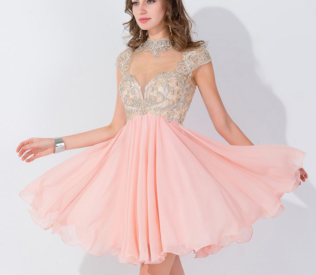 High Neck Homecoming Dress,Pink Applique Homecoming Dresses   Short ...