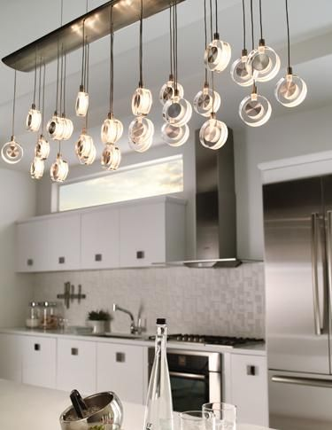 Kitchen Lighting Idea The Elongated Shape Of Lbl Lighting S Bling Chandelier Makes It
