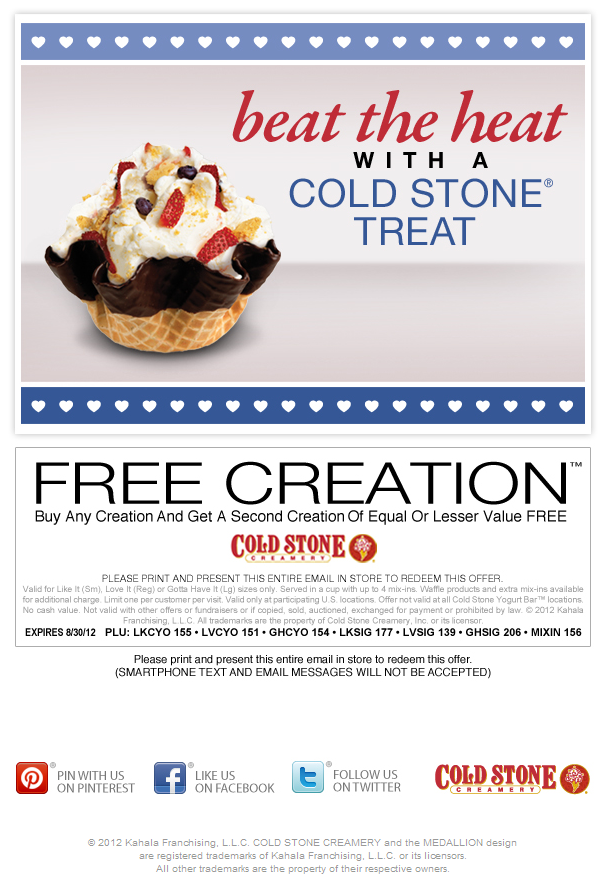 Second Ice Cream Free At Cold Stone Creamery Coupon Via The Coupons App Coupon Apps Cold Stone Creamery Favorite Recipes