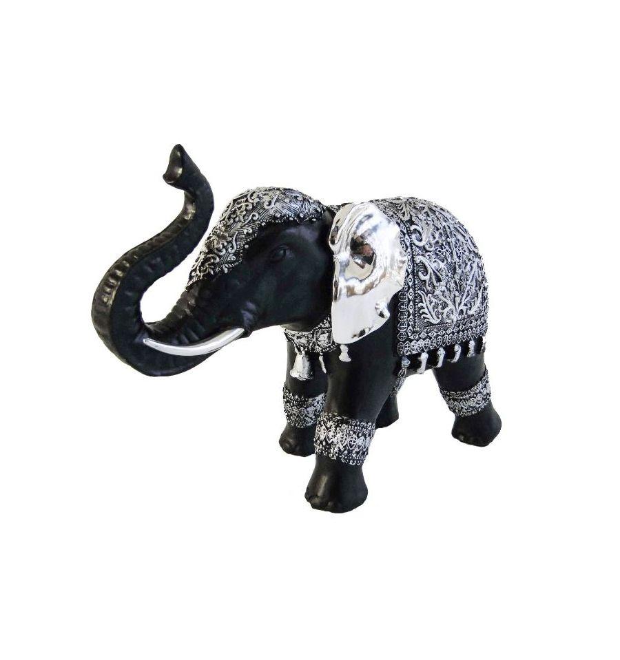 Tenture Africaine Grande Taille statuette d'éléphant noir et argent de grande taille