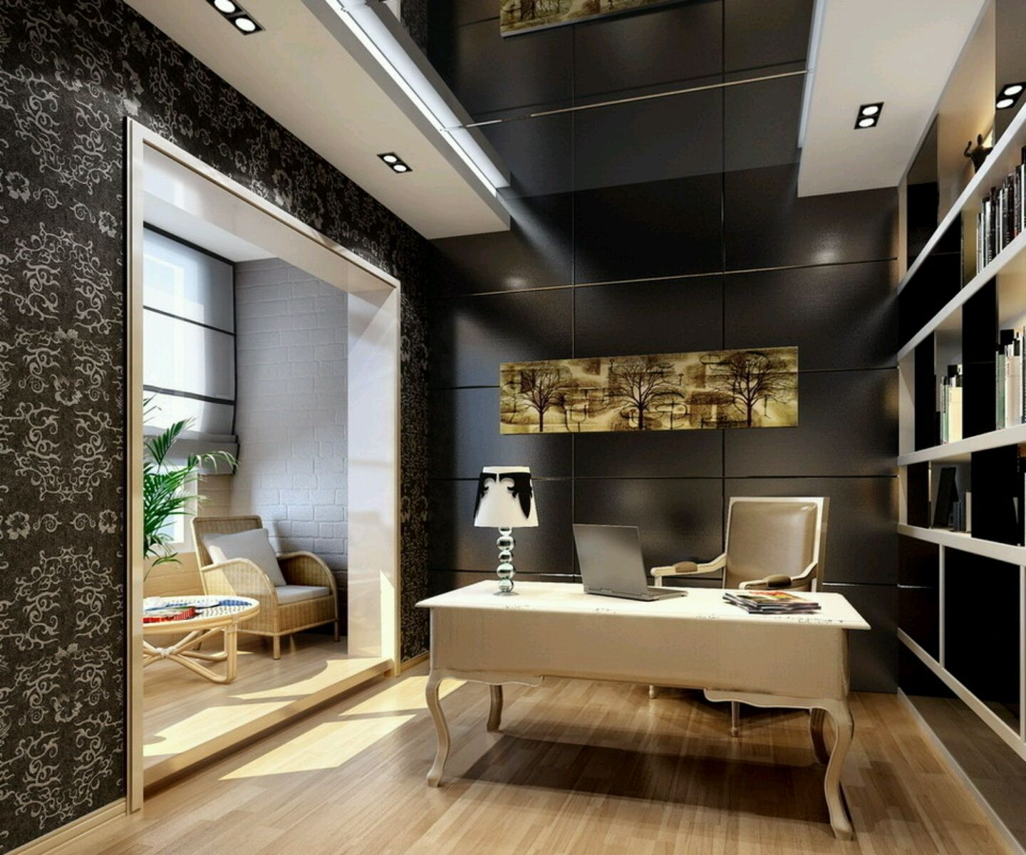 Furniture: Modern Study Room Furnitures Designs Ideas. I Love The Design On  The Wall