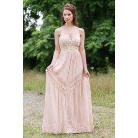 a66f0baa3 Beige Open Back Maxi Dress, Cute Summer Maxi Dress, Boho Hippie Dress Online
