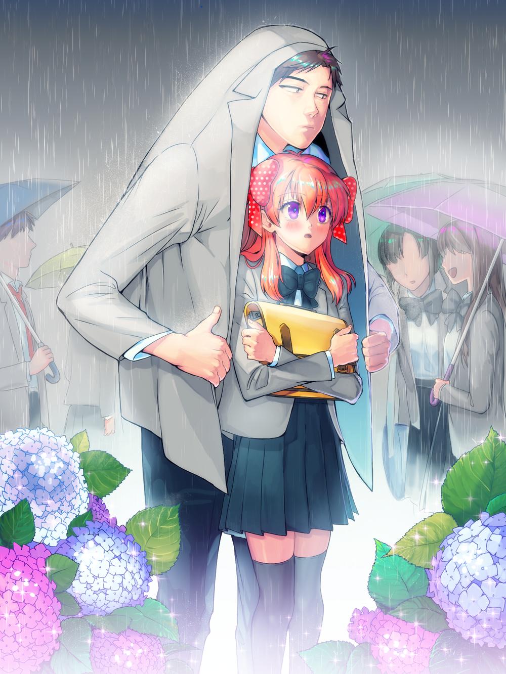 in the rain linebj [pixiv] sakura chiyo & nozaki