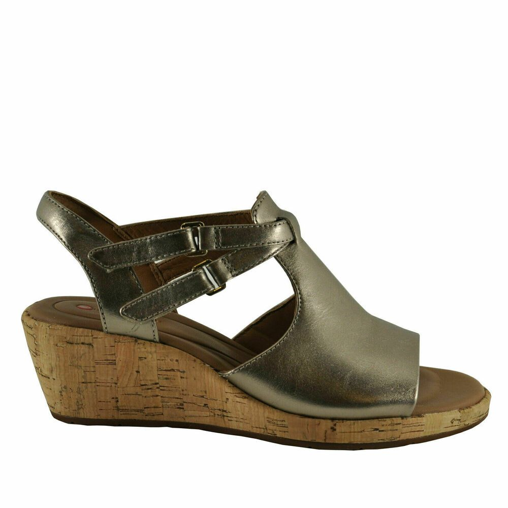 Details about Women's Shoes Clarks Un Plaza Way Caged Open Toe Wedge 40371 Black Leather *New*