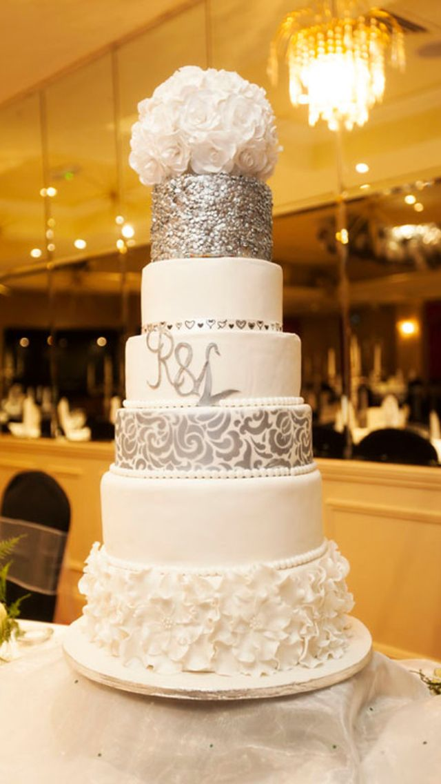 My 6 Tier Silver And White Wedding Cake With Rose Ball Topper Textured Silver Monogrammed And Stencilled Layers And La Wedding Cakes Cake White Wedding Cake