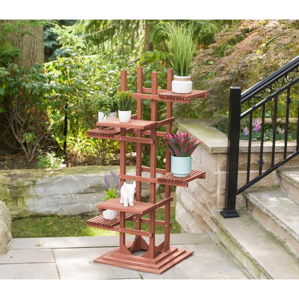 Leisure Season 29 In W X 60 In H 6 Tier Wooden Pedestal Plant