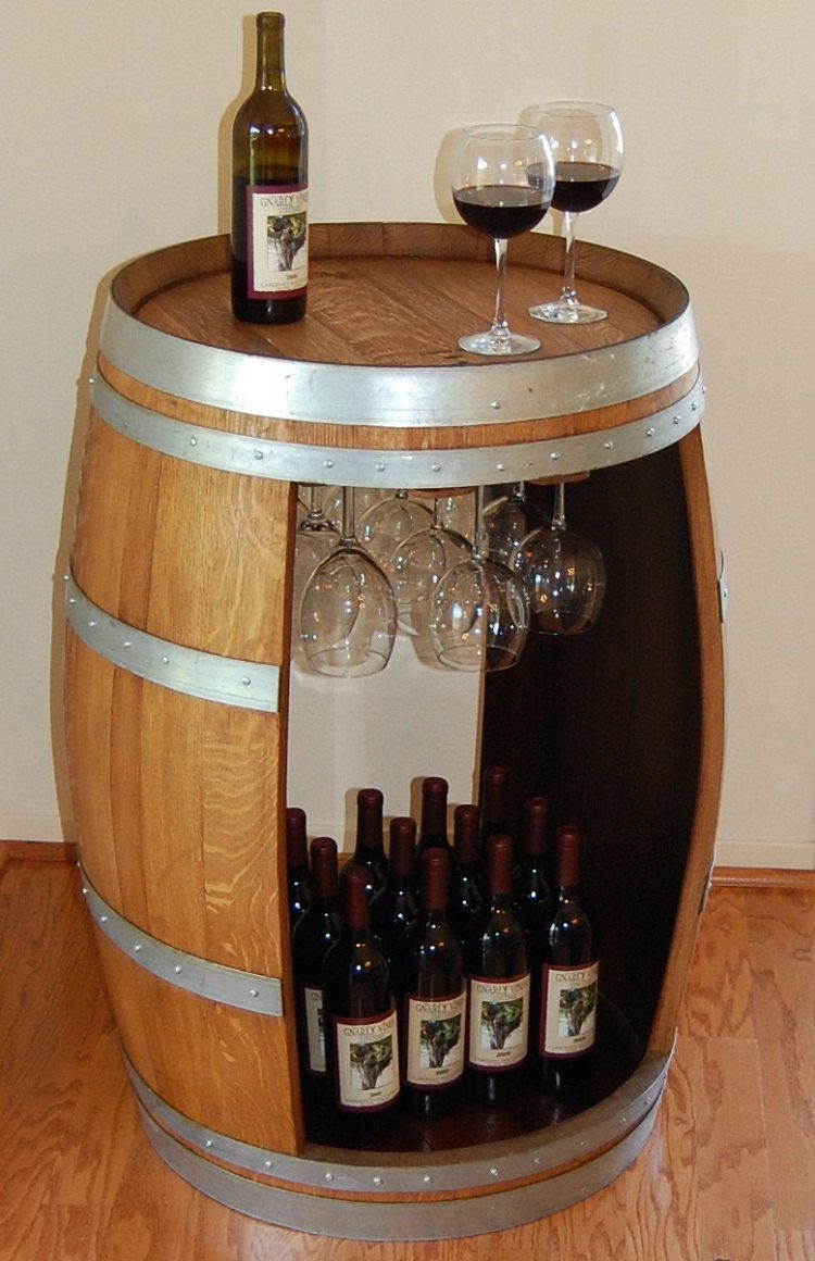 Wine Barrel Bar Table With Wine Glass Hangers Backyard