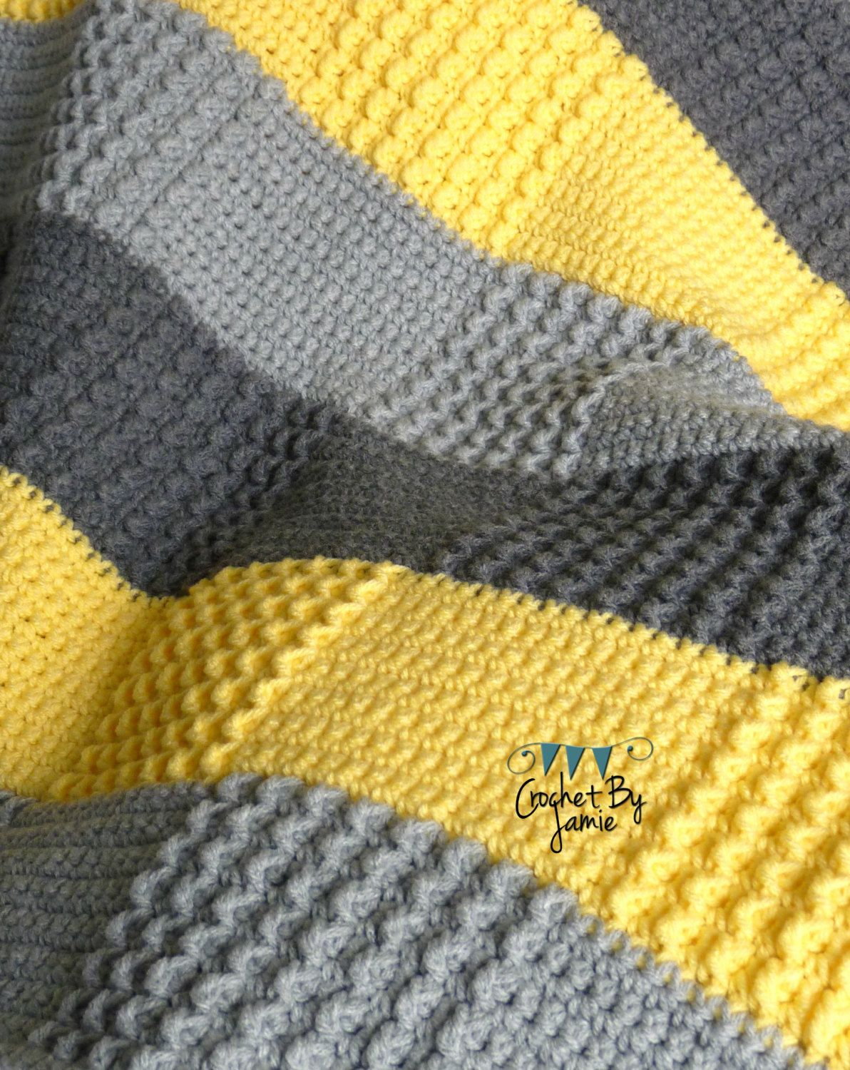 Crochet Gray Yellow Baby Blanket MADE TO ORDER by CrochetByJamie ... : yellow and gray baby quilt - Adamdwight.com