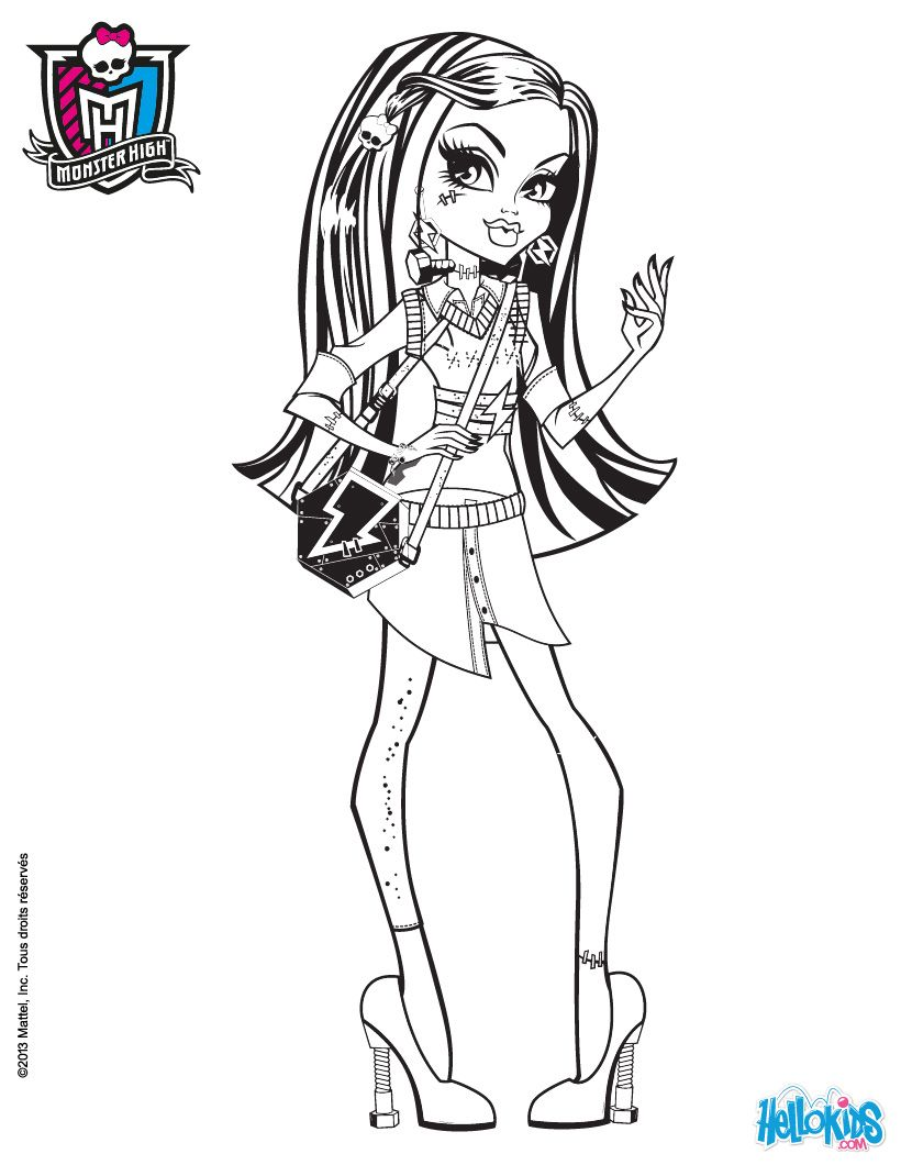 Frankie Stein Long Hair Coloring Page