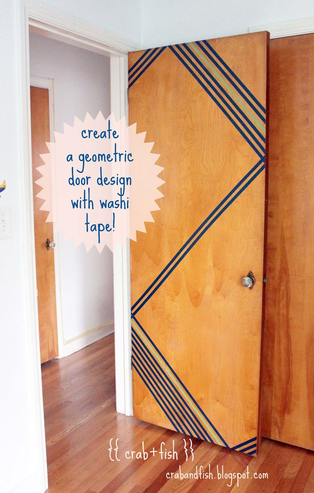 Create a geometric door design with washi tape Small space design