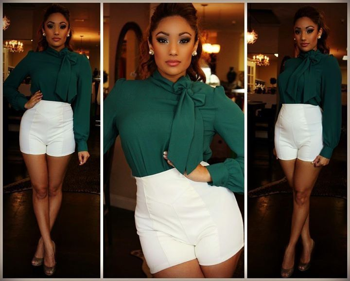 .green blouse/hi wasted shorts love the blouse and color
