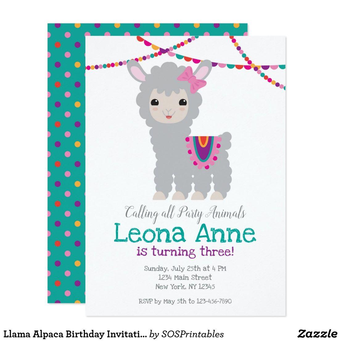 Llama alpaca birthday invitation zazzlecouk birthday