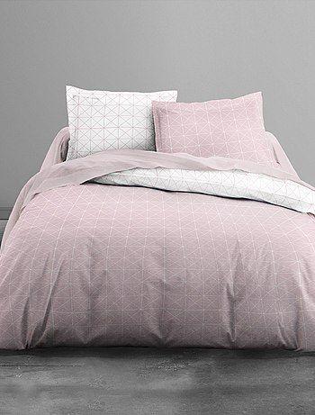 Juego de cama con estampado de cuadros                             blanco/rosa…