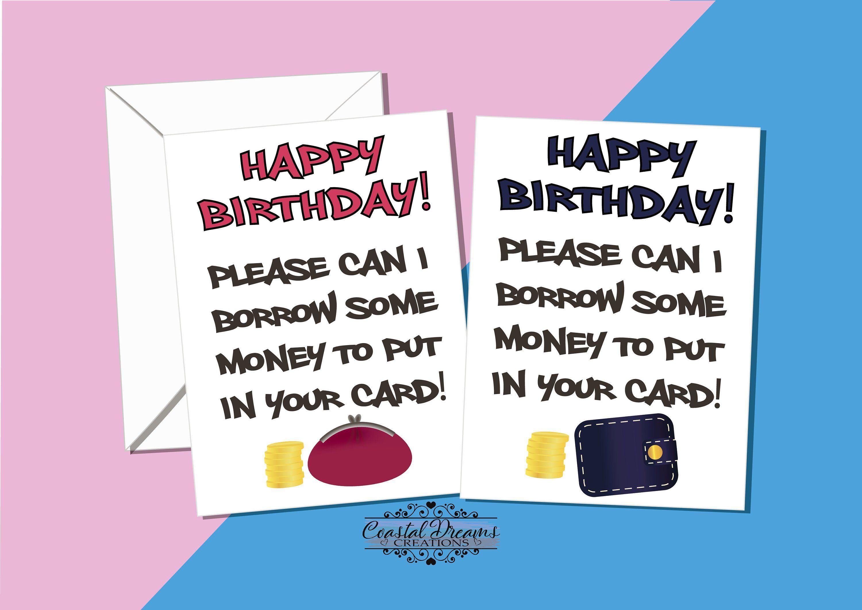 Funny Family Birthday Card Please Can I Borrow Money To Etsy Family Birthdays Birthday Message For Wife Birthday Wishes Funny