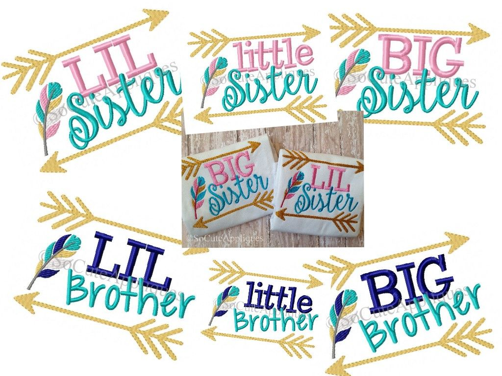 Big/lil/little sister/brother arrows & feather 5x7: So Cute ...