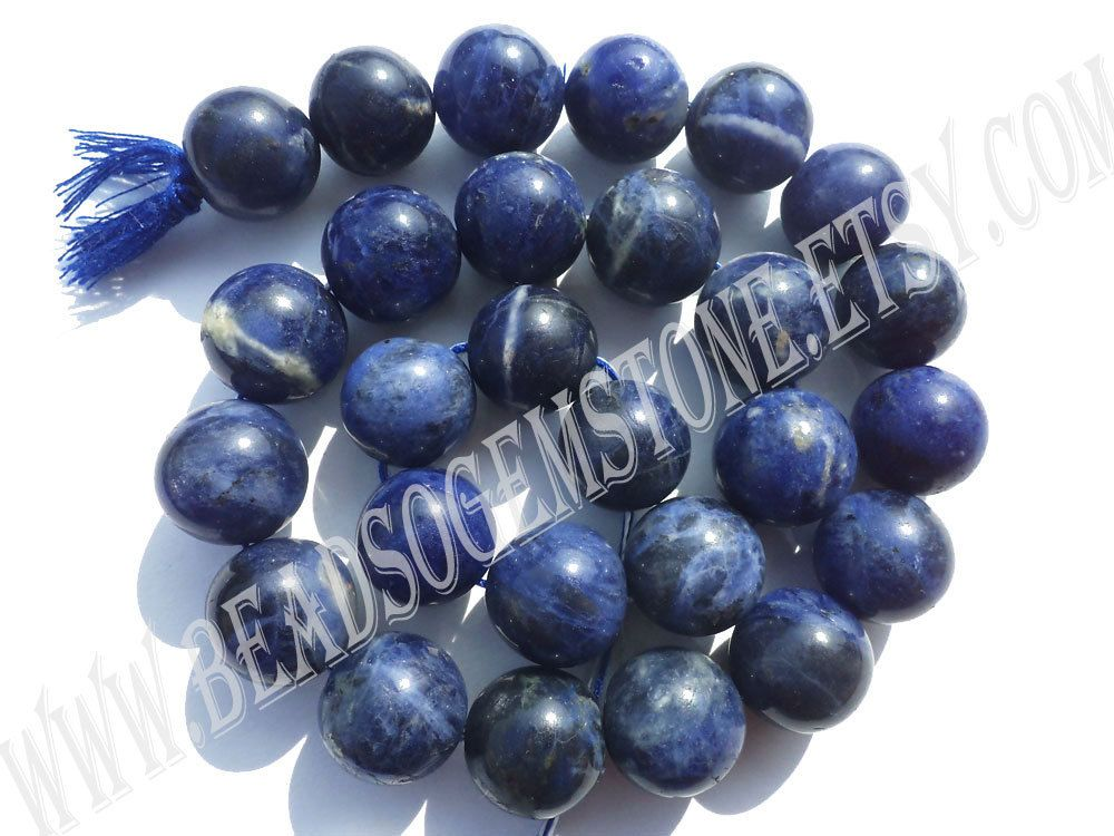 Sodalite Smooth Round (Quality B) (Pack of 2 Strands) / 13.5 to 14.5 mm / 76 to 84 Grms / 36 cm / SOD-031 by GemstoneWholesaler on Etsy