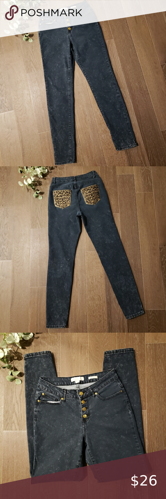 Nicki Minaj Leopard Pocket Mid Rise Jeans Nicki Minaj Leopard Pocket Mid Rise Jeans Skinny Blackstone Wash Je In 2020 Womens Jeans Skinny Mid Rise Jeans Clothes Design