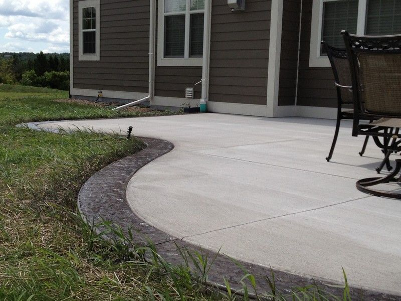 Colored Cement Patio  by using colored concrete stained concrete concrete stamping or a