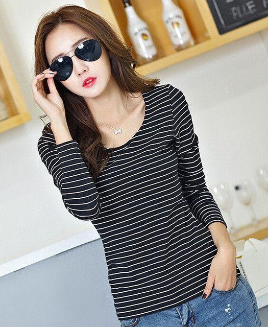 bdf4ebebcc Basic T Shirt Women Long Sleeve Womens Tops 2017 Spring Autumn Tee Shirt  Women Korean Style T-Shirt Cotton New Plus Size Tshirt