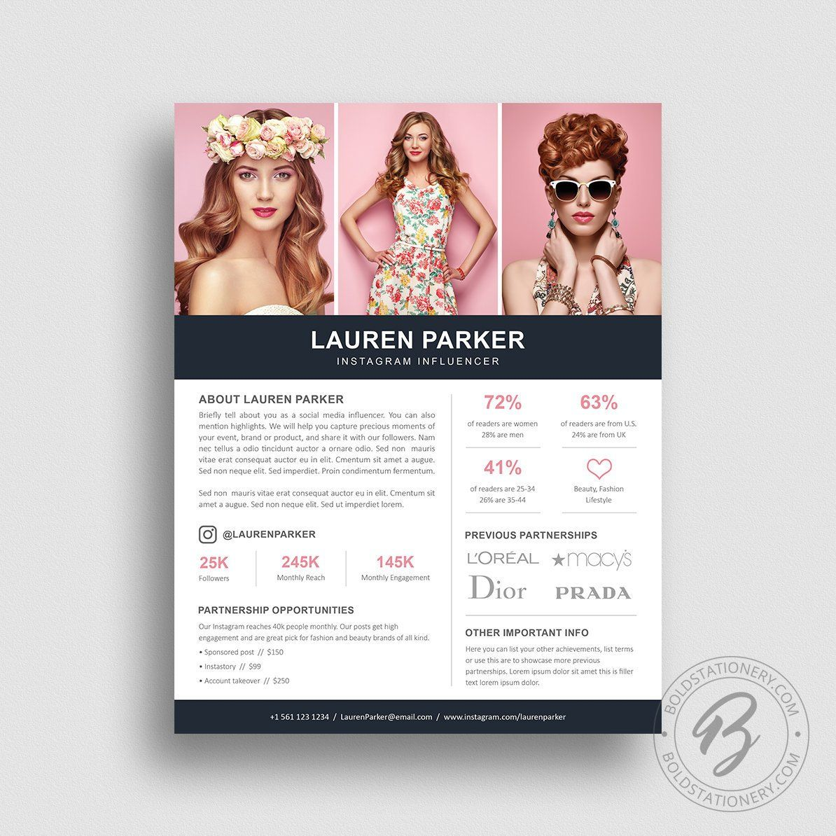 Influencer Media Kit Template 1 Page Media Kit Template