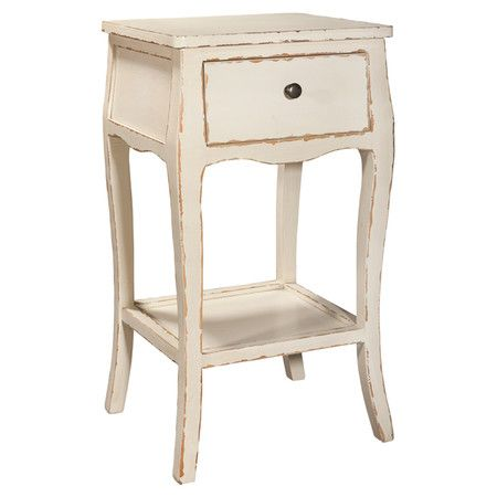 weathered poplar wood end table with 1 drawer and a lower