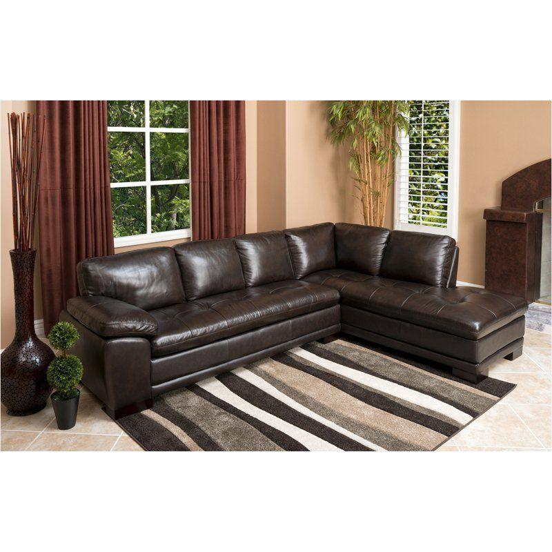 Abbyson Woodland Premium Italian Leather Sectional Sofa Leather Sectional Top Grain Leather Sectional Leather Sectional Sofas