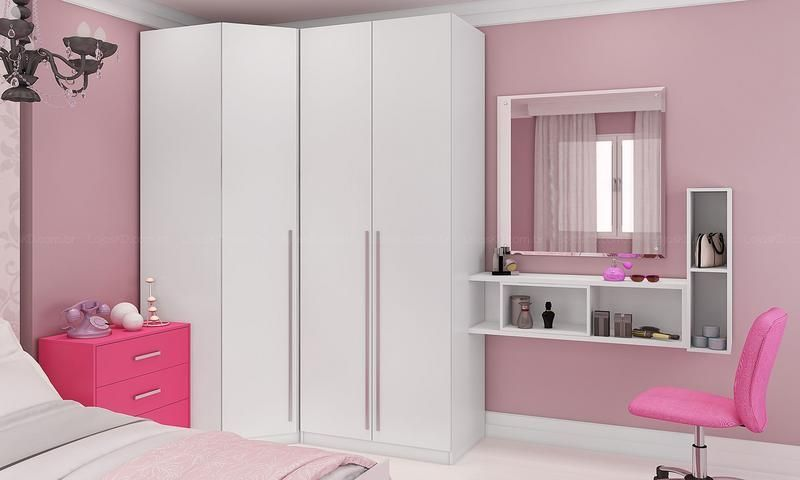 Quarto Juvenil Modulado Completo com Guarda roupa, 2  ~ Quarto Solteiro Completo Rosa