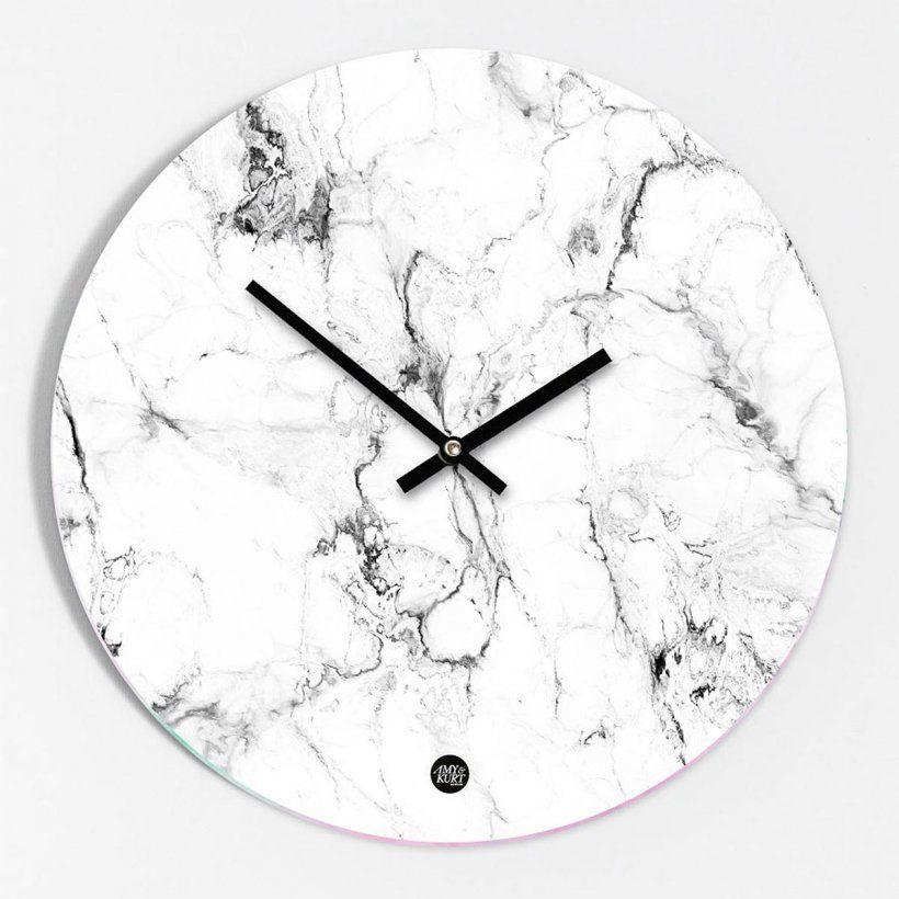 Design Wand Uhr in weisser Marmor Optik Interior Design - schöne wanduhren wohnzimmer