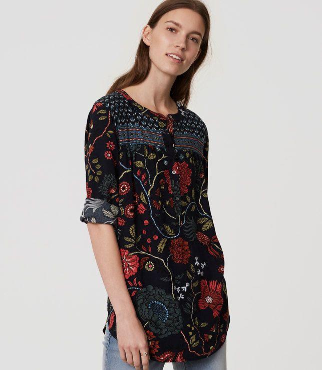 aa8dce78920 LOFT Primavera Henley Tunic in fresh navy. Floral print top ...