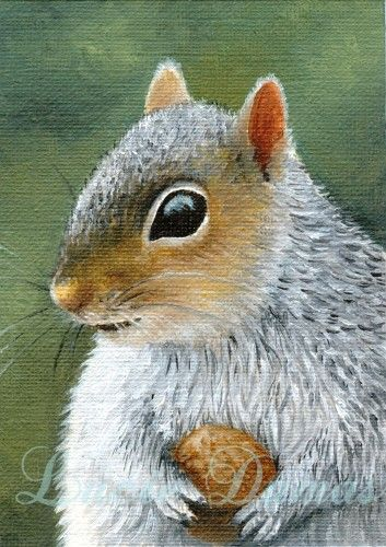SQUIRREL in the bathroom  animal art print 4x6 artwork gift