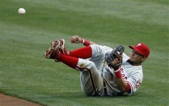 Philadelphia Phillies storyline: cursed limbs        ..........      Jimmy Rollins of the Philadelphia Phillies has his hands full, keeping his team within striking distance for that 6th consecutive divisional flag.  Can they hover around .500 until the cavalry arrives in May and June?  Can they score 3 runs during a complete 9, when their stud only surrenders 2 to their opponent?   .........   Click isportweb below for the article.  Check it out, check-it-outers.