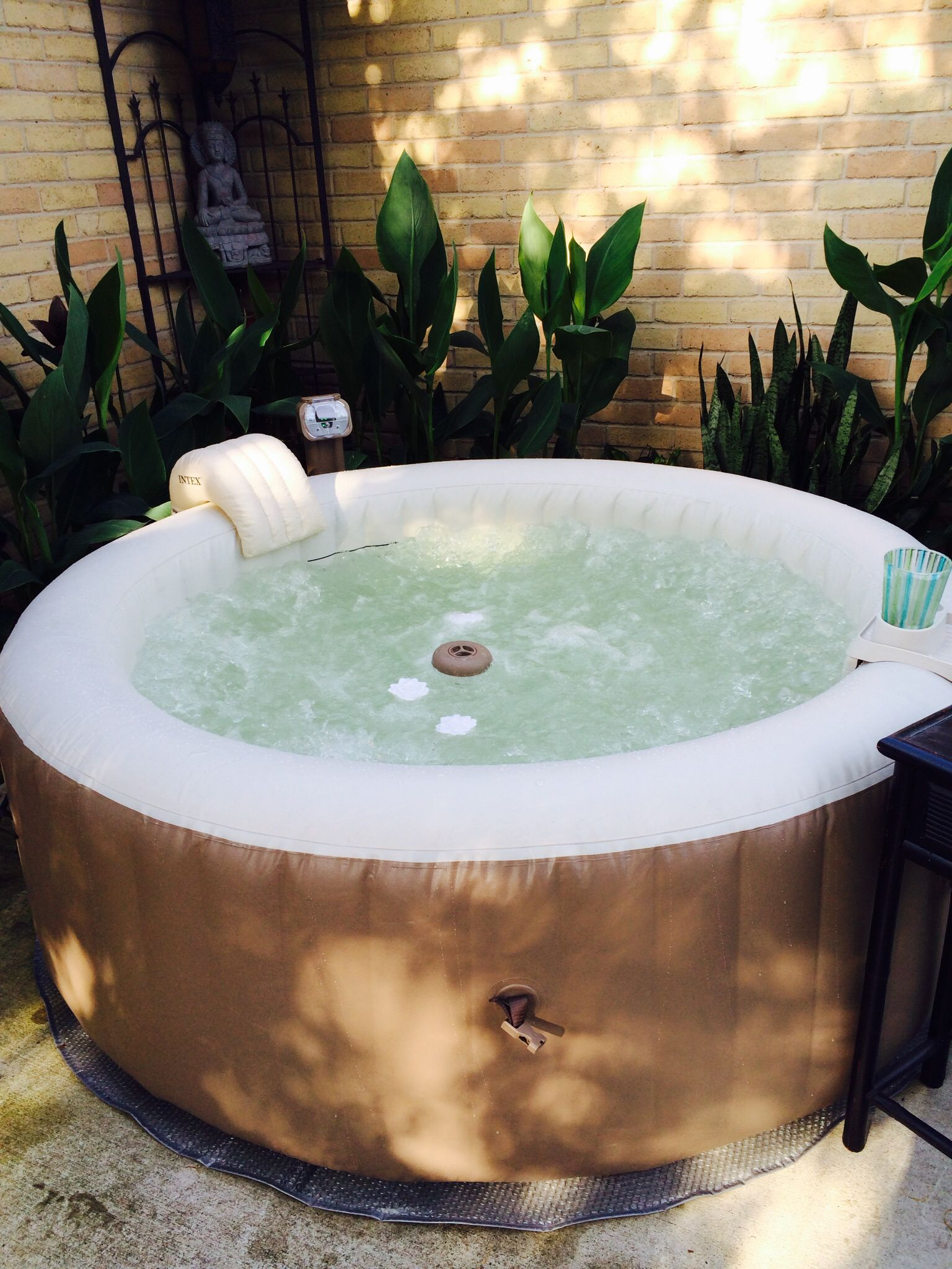 intex spa pool in backyard perfect for your porch for some