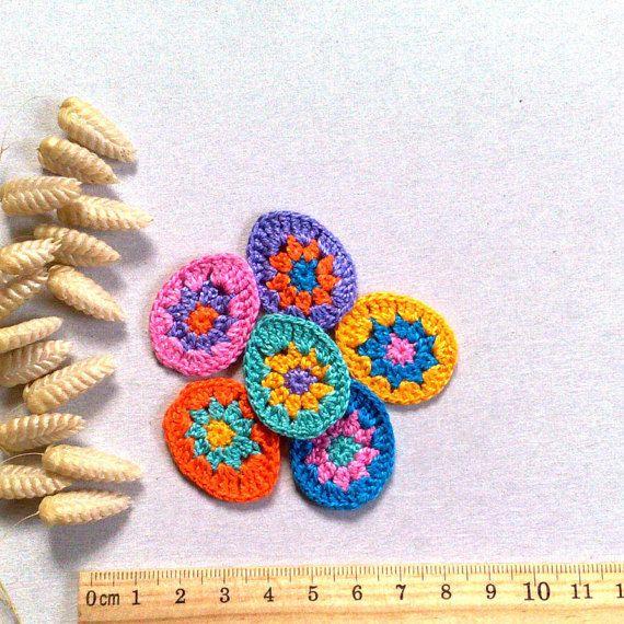 Set 6 Easter Egg Crochet Small Appliques Decorative By ElenaGift