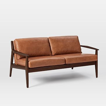 Mathias Mid Century Wood Frame Leather Sofa #westelm