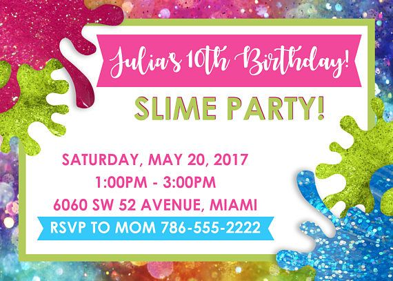 Slime birthday party digital invitation rsvp slime and birthdays all invitations will be sent via email in jpeg format unless another format is specified stopboris