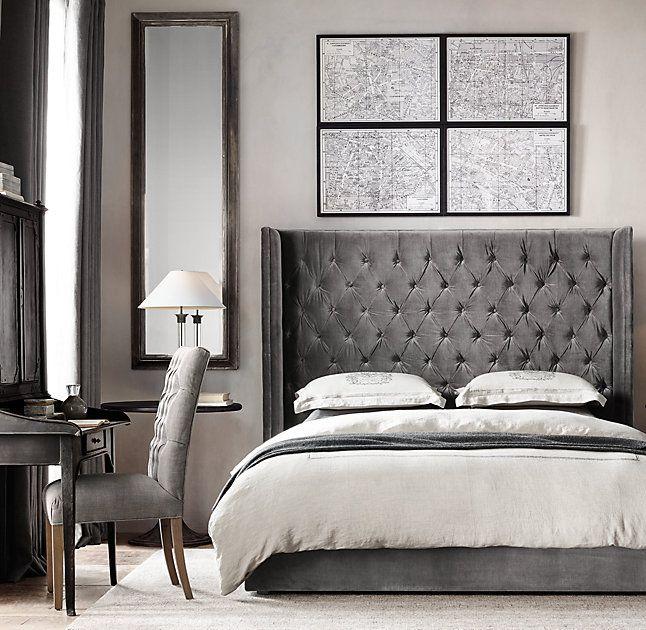 Adler Tufted Fabric Platform Bed Restoration Hardware Bedroom Master Furniture Home Decor