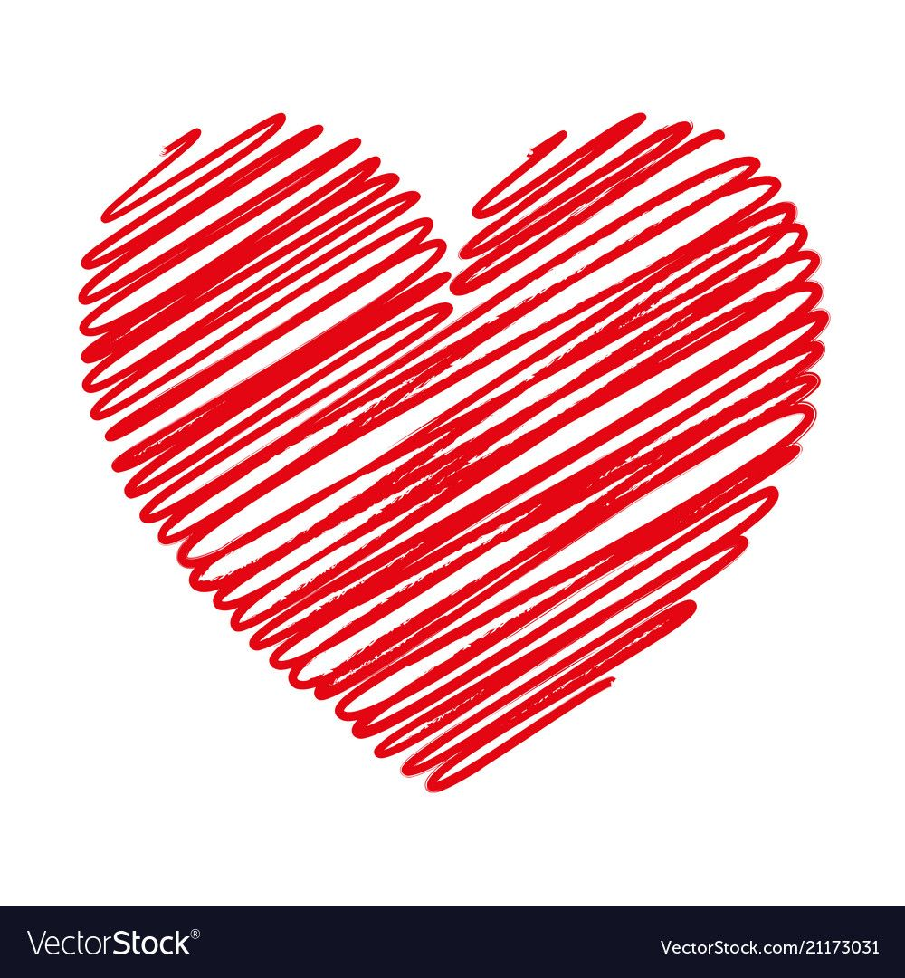 Red heart scribble with lines texture on white vector