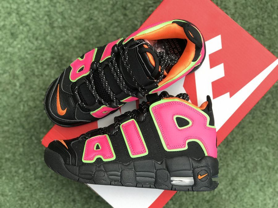 low priced 9c728 2c208 2018 Nike WMNS Air More Uptempo Black Hot Punch-Volt For Sale-3