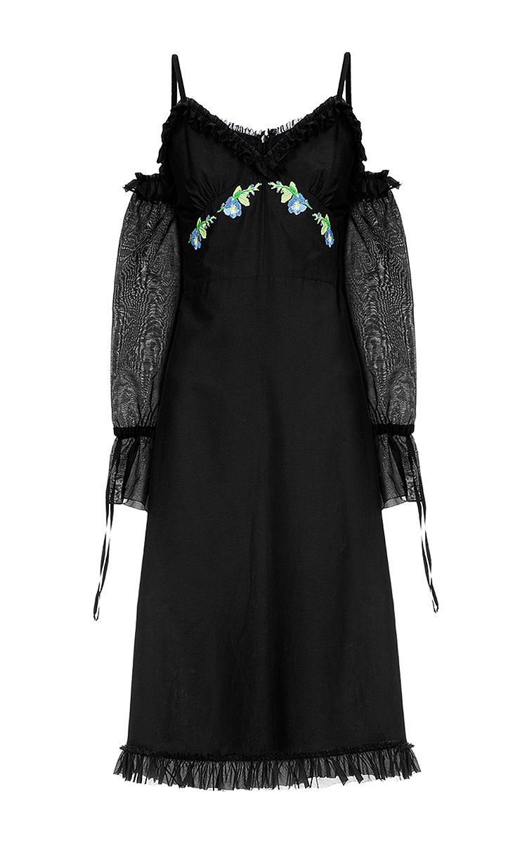 Open Shoulder Ruffle Dress by Flow The Label   Moda Operandi