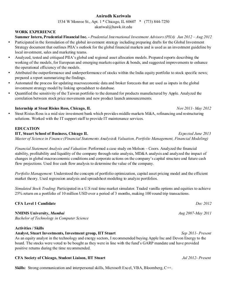 Cfa Level 1 Resume Examples Business Resume Template Good Resume Examples Resume Examples