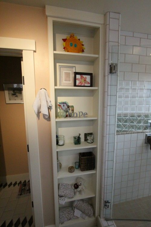 bathroom: built-in shelving | Bathrooms | Pinterest | Shelving ...