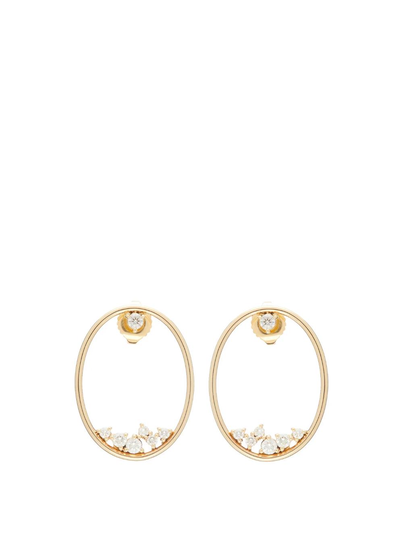 Diamond 14kt Gold Hoop Earrings Mizuki Matchesfashion Us 14kt Gold Hoop Earrings Hoop Earrings Gold Hoop Earrings