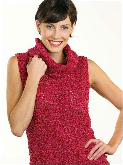 Cowl Neck Sweater - Crocheted using sport-weight chenille ...