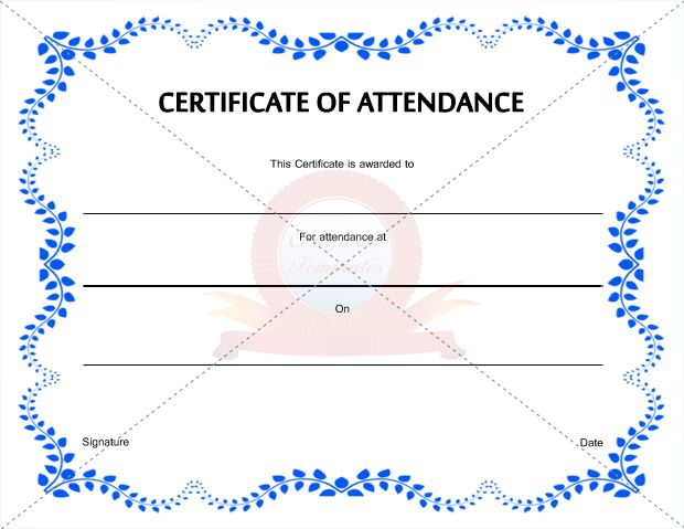 certificate of attendance template free