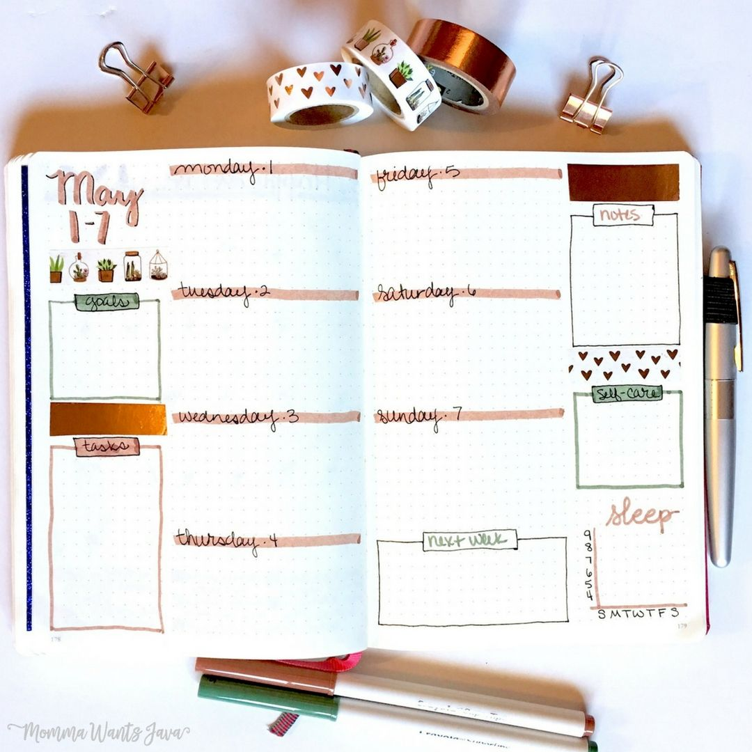 Weekly Spread // My may bullet journal setup might be my favorite monthly layout yet! It has my calendar, goals, habit tracker, mood tracker, weather tracker, and more!