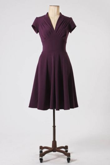 The Aubergine Vedette Short Sleeve Dress by Miss Candyfloss