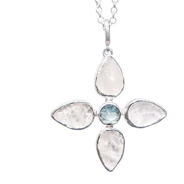 Aquamarine and White Quartz Petal Pendant by Poppy Jewellery ($210) ❤ liked on Polyvore featuring jewelry, pendants, blue, quartz pendant, chain pendants, quartz jewelry, poppy jewelry and blue poppy jewelry