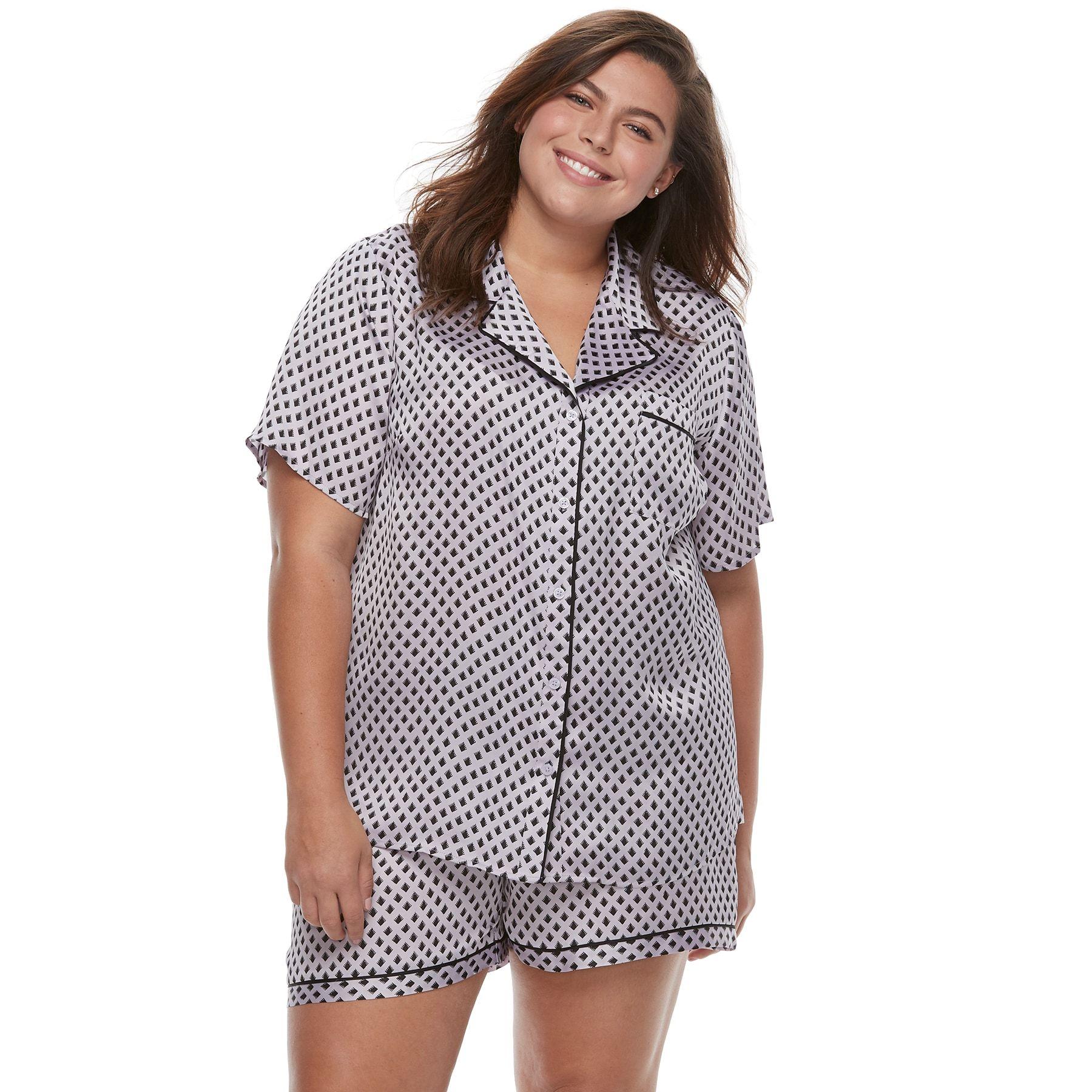 Plus Size Apt. 9  Pajamas  Satin Notch Collar Shirt   Shorts Set ... 759a41b6d